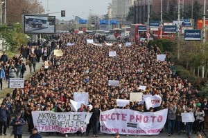 10.000 students took the streets against the new policy on higher education in December, 2014