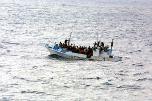 Refugees on a boat (Photo credit: Wikipedia)