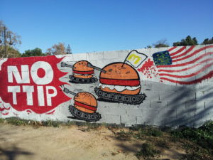 An anti-TTIP mural in Valencia, Spain.