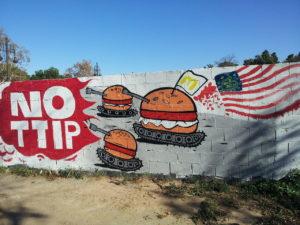 An anti-TTIP mural in Valencia, Spain.